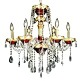 Cheap Elegant Lighting 7810D24G/RC Alexandria 27-Inch High 6-Light Chandelier, Gold Finish with Crystal (Clear) Royal Cut RC Crystal