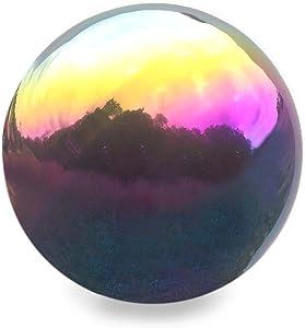 Plow & Hearth 52610-RAI Stainless Steel Gazing Ball, Rainbow
