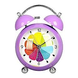 Retro 4.5 Twin Bell Alarm Clock Cute Children's Morning Wake Up Alarm Clock with Nightlight Silent Movement Analog Travel Clock HA66-US (Purple Shell, Colorful Lemon Dial Face)