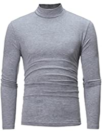 xiaokong Men Long Sleeve Solid-Colored Turtleneck Autumn Pullover T-shirts