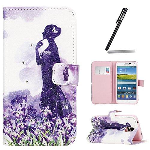 Ukayfe Flip funda de cuero PU para Samsung Galaxy S5, Leather Wallet Case Cover Skin Shell Carcasa Funda para Samsung Galaxy S5 con Pintado Patrón Diseño, Cubierta de la caja Funda protectora de cuero Henna Series#9