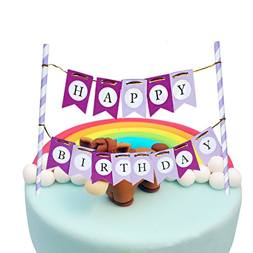 LOVELY BITON(TM) Purple Happy Birthday Cake Topper Banner for Parties Baby Birthdays