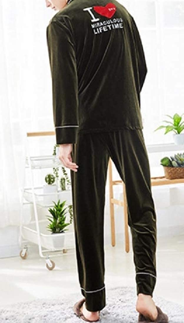 YUNY Mens Home Gold Velvet Woven Print Classic Long Sleeve Pjs Set