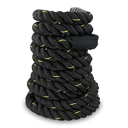 ZENY Battle Rope - 1.5'' X 50 FT Poly Dacron Exercise Undulation Ropes Gym Muscle Toning Metabolic Workout Fitness Training Rope