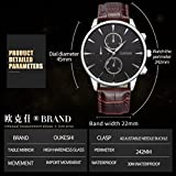 Lotus.flower Men's Luxury Analogue Quartz Dress Watch Faux Leather Business Wristwatch