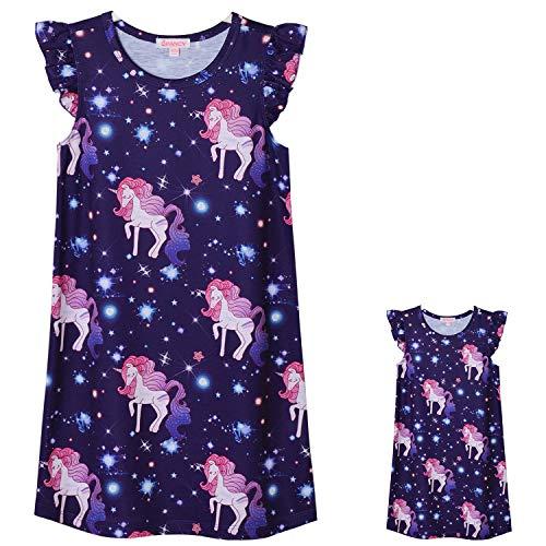 Unicorn Nightgowns Toddler Girls & Dolls Matching Flutter Sleeve Night -