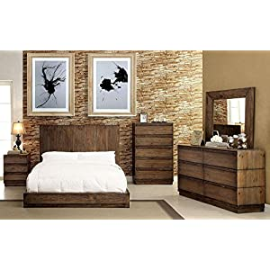 Esofastore Amarante Collection Rustic Natural Tone Finish Low Profile Bed w/Flat Panel HB Queen Size Bed 4pc Set Unique…