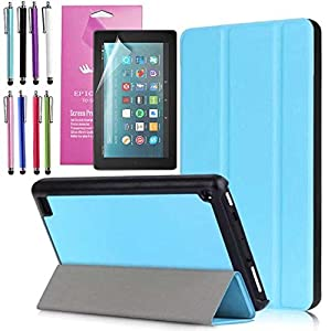 """Amazon Fire 7"""" 2017 Case, EpicGadget(TM) 7th Generation Fire 7 Auto Sleep/Wake Tri-fold Stand Ultra Lightweight Slim Cover PU Leather Case For Fire 7 + 1 Screen Protector and 1 Stylus (Light Blue)"""