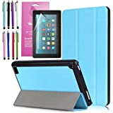 "Amazon Fire 7"" 2017 Case, EpicGadget(TM) 7th Generation Fire 7 Auto Sleep/Wake Tri-fold Stand Ultra Lightweight Slim Cover PU Leather Case For Fire 7 + 1 Screen Protector and 1 Stylus (Light Blue)"