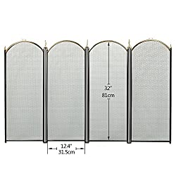 Large Gold Fireplace Screen 4 Panel Ornate Wrought Iron Black Metal Fire Place Standing Gate Decorative Mesh Solid Baby Safe Proof Fence Steel Spark Guard Cover Outdoor Fireplace Tools Accessories by F&T