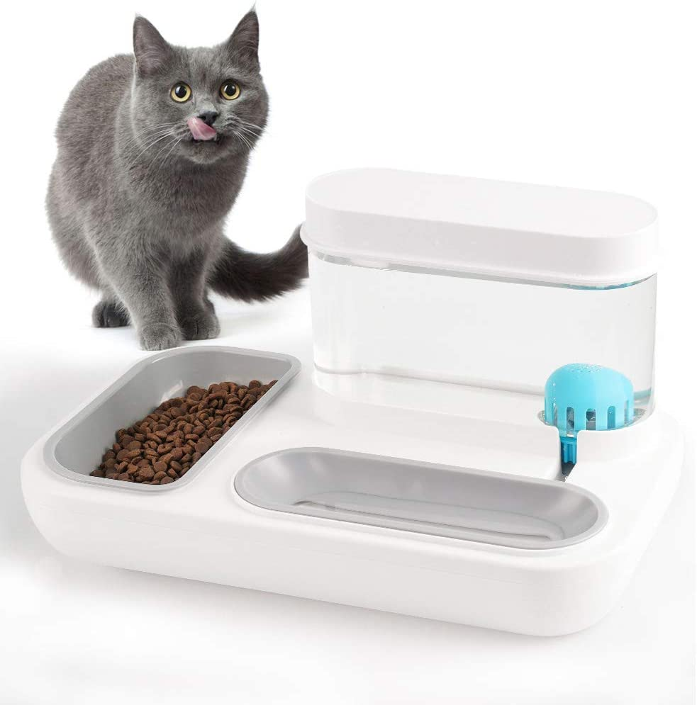 YOUMI【Two-in-One】 Double Dog Cat Bowls - Food Bowl and Detachable Gravity Water Dispenser with Filter Cover Set for Cats/Small Dogs, Food Grade Cat/Dog Bowl, Made from Non-Toxic Material