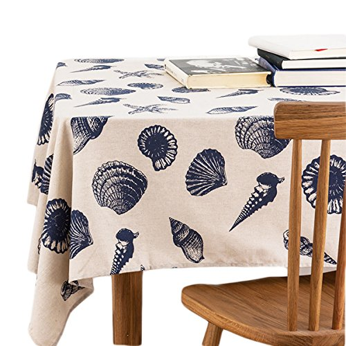 Starfish Linen (Bringsine Washable Rectangular Cotton Linen Starfish Shell Conch Print Tablecloth, Vintage Dinner Picnic Table Cloth Home Decoration Assorted Size)