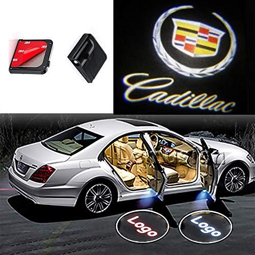 Cadillac Eldorado Door - CNAutoLicht 2x Wireless Magnetic Cree LED Door Step Courtesy Light Laser Shadow Logo Projector Lamp For Cadillac Allante ATS Deville DTS BLS Seville SRX STS Eldorado Escalade XT5 XLR XTS Welcome Light