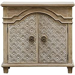 Carved French Country Rosette Floral Accent Cabinet | Wood Ivory Vintage Style