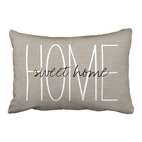 Capsceoll Rustic Chic Home Sweet Home Lumbar Decorative Throw Pillow Case 20X30Inch,Home Decoration Pillowcase Zippered…
