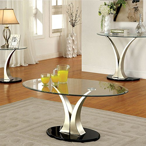 Oval Set Sofa Table - 247SHOPATHOME IDF-4727C Coffee-Tables, Chrome