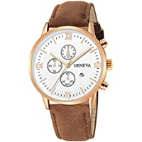 HHei_K Mens Luxury Fashion Date Sport Analog Quartz Wrist Watch - Leather Band - Waterproof - Office Work School Watch