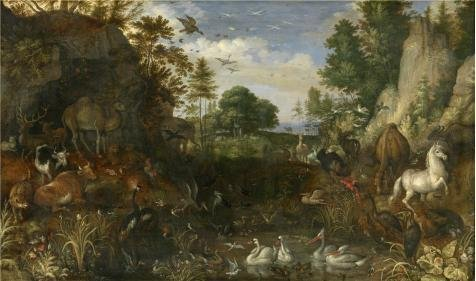 Oil Painting 'Roelant Savery,The Garden Of Eden,1576-1639', 8 x 14 inch / 20 x 34 cm , on High Definition HD canvas prints is for Gifts And Home Office, Nursery And Study Room (Eden Harness)