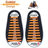Coolnice® No Tie Shoelaces for Adults and Kids DIY 20pcs - Environmentally safe silicone - Lazy Shoestrings - Color of Orange