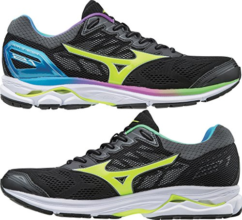 Mizuno Women's Wave Rider 21 Osaka WOS Running Shoes, Black Black/SafetyYellow/White