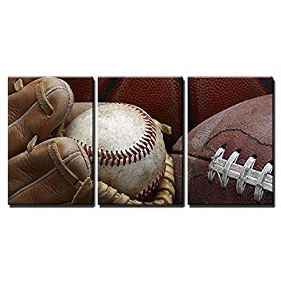 3 Piece Canvas Wall Art - Close Up Shot of Well Worn Baseball in Baseball Glove, Football and Basketball - Modern Home Art Stretched and Framed Ready to Hang - 16