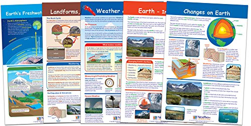 NewPath Learning 94-3503 Earth Inside and Out Bulletin Board Chart Set (Pack of 5)