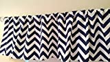 Navy Blue Chevron Valance Curtain, Baby Nursery window treatment. Blue and white stripes. 54 '' wide