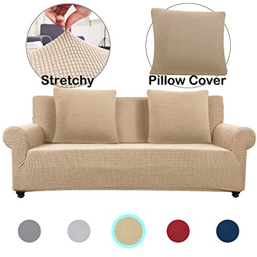 Lumibee Stretchable Loveseat Slipcover 1-Piece with 2 Pillow Covers Chair Sofa Cover Furniture Protector Couch Soft with Elastic Bottom Anti-Slip Foam, Spandex Jacquard Fabric (Khaki, 2 Seater)