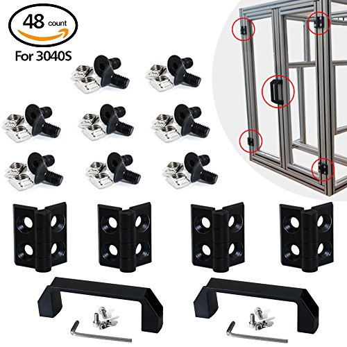 Boeray 2 Sets 3040 Aluminum Extrusion Profile Slot 6mm Door Handle and Frame Hinges Install Kit-4pcs Black Zinc Alloy Hinges, 2pcs Aluminum Handles,20pcs T-Nuts, 20pcs Hex Screws,2pcs Wrench