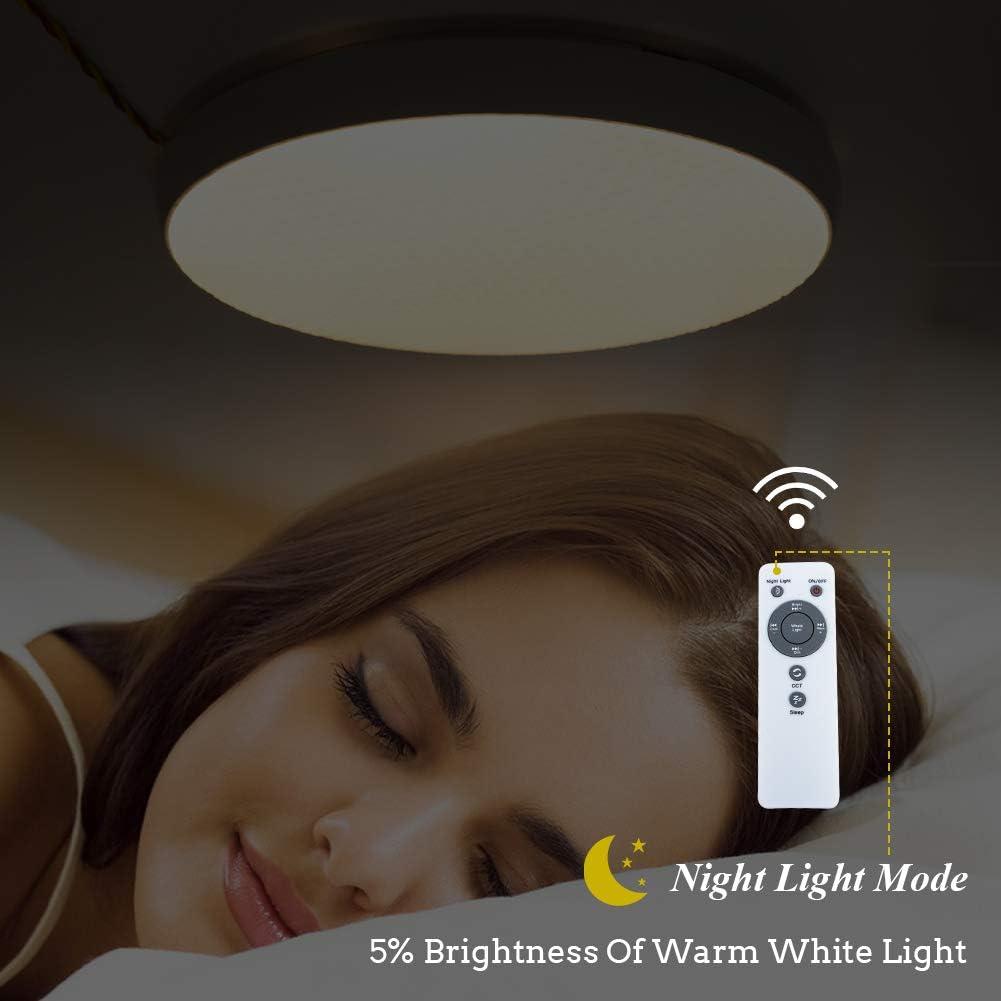 f/ür Wohnzimmern LED Deckenleuchte mit fernbedienung,dimmbar,Farbton einstellbar: warm Neutral kalt wei/ß Schlafzimmern Nachtlicht-Funktion 3600 Lumen Kunststoff 40W Deckenlampe inkl Timerfunktion