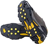 MOCK ST Ice & Snow Grips Over Shoe/Boot Traction Cleat Rubber Spikes Anti Slip 10-Stud Crampons Slip-on Stretch Footwear S/M