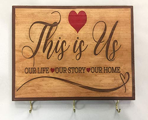 7x9 Brown'This is Us' Sign Home Decor Key Holder for Wall. Gift for couple. Wedding gift idea for couple. Bridal shower gift idea. Housewarming gift for couple.