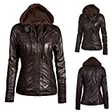 Slim Hooded Jacket Baigoods Womens Overcoat Coat Lapel Removable Zipper Patent Leather Outwear Tops