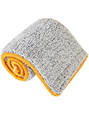 Practical Double Sided Non-Hand Washing Mop Cloth Soft Superfine Fiber Replacement Mop Head Cloth Floor Cleaning Tool (Color : Yellow)