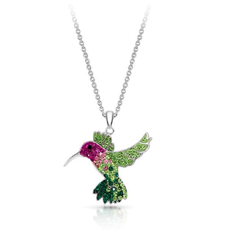 Colorful Flying Hummingbird Crystal Pendant Necklace Never Rust 925 Sterling Silver for Women, Girls & Teens, Natural & Hypoallergenic Chain with Free Breathtaking Gift Box for Special Moments of Love