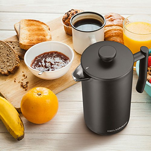 French Press Coffee Maker with Extra Filters for a Richer and Fuller Coffee Flavor, Designed with Double Wall Black Stainless Steel to Preserve Hot Coffee Temperature (34oz) by Belwares (Image #7)