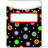 CREATIVE TEACHING PRESS DOTS ON BLACK LIBRARY POCKETS (Set of 24)