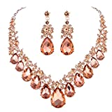 Youfir Bridal Rhinestone Crystal V-shaped Teardrop Wedding Necklace and Earring Jewelry Sets for Brides Formal Dress (Rose gold-Peach)
