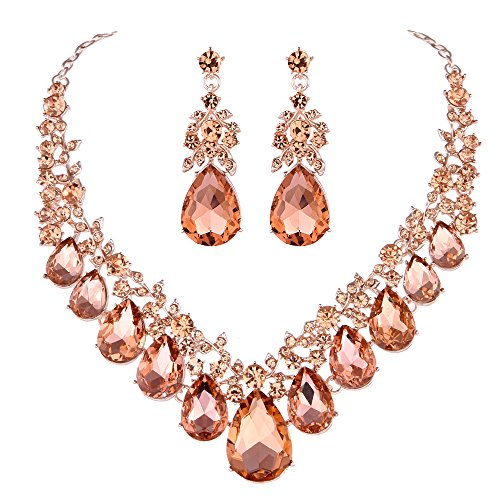 Youfir Bridal Rhinestone Crystal V-Shaped Teardrop Wedding Necklace and Earring Jewelry Sets for Brides Formal Dress (Rose - Peach Crystal Necklace