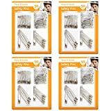 200pk Safety Pins by Keep it Handy | 4 x 50pk Assorted Size Sewing Pins | Small, Medium, Large, Silver Metal Locking Pins | Durable and Sturdy