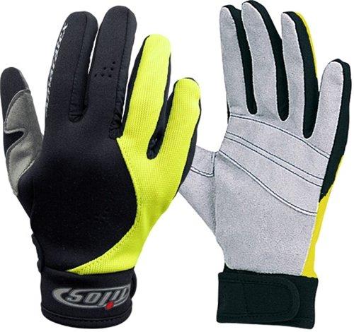 1.5mm Quality Mesh Reef Sporting Glove w/ Amara Palm Gloves for Scuba Dive Diving Divers Snorkel Snorkeling Swim Swimming Raft Rafting Kayak Kayaking Jet Ski Skiing Boat Boating Sail Sailing , Yellow & Black, X-Small