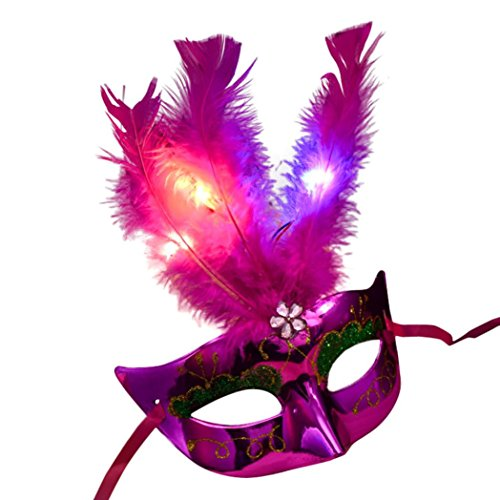 Inverlee Deluxe Feather Mask Assortment Women Venetian LED Fiber Mask Masquerade Fancy Dress Party Princess Feather Masks For Prom Party (Hot Pink)