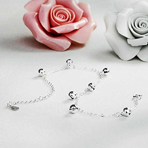 usongs More creative with sterling silver Foot Chain anklet bells sound tassel style women girls students Mori Department personality cute accessories ()