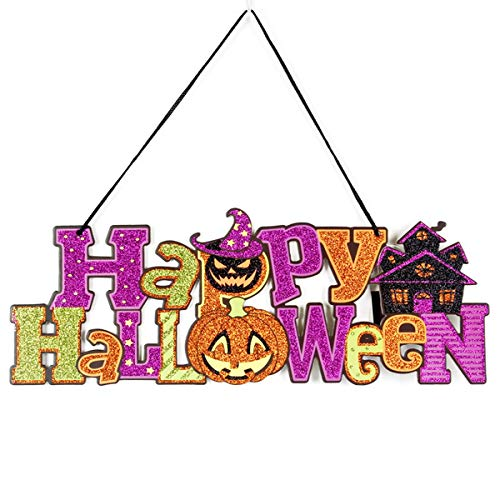 (EVAIL Happy Halloween Hanging Sign Decoration Glitter Halloween Pumpkin Party Wall Sign Door Window Decorations Haunted House Yard Party Supplies)