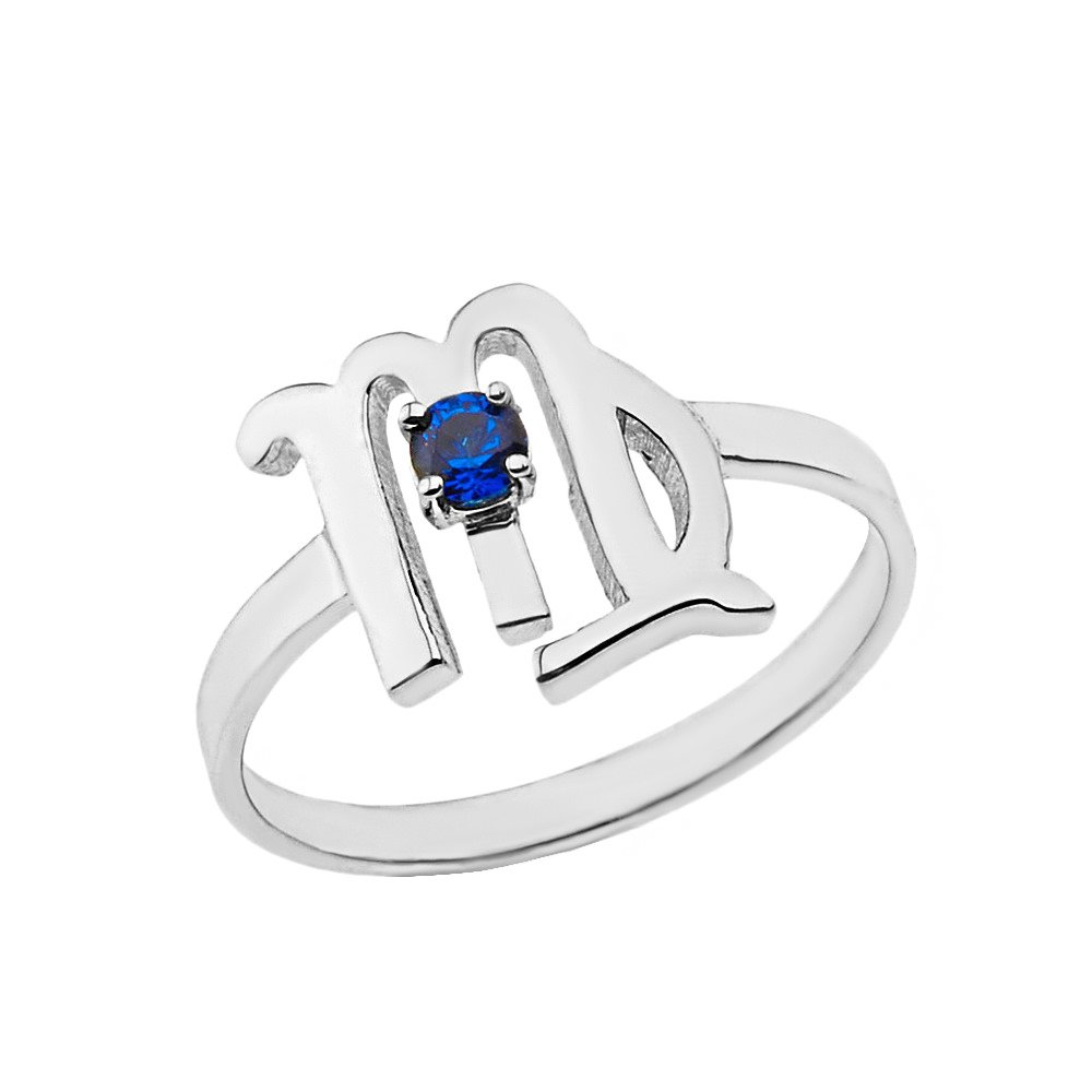 CaliRoseJewelry Sterling Silver Virgo Zodiac Ring for Women with September Birthstone (Size 11.25)