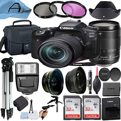 Canon EOS 90D DSLR Camera 32.5MP Sensor with EF-S 18-135mm Lens + 2 Pack SanDisk 32GB Memory Card + Padded Bag + Tripod…