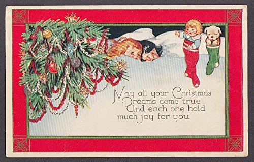 Decorated pine boughs & sleeping children embossed Christmas postcard 1910s (Boughs Pine Christmas)
