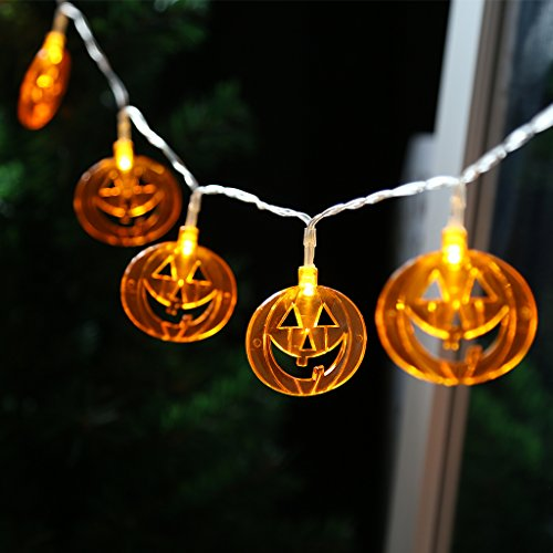[Finether 3.94 ft Battery Powered 10 LED Pumpkin String Lights for Halloween Party Holiday Indoor] (Halloween 10)