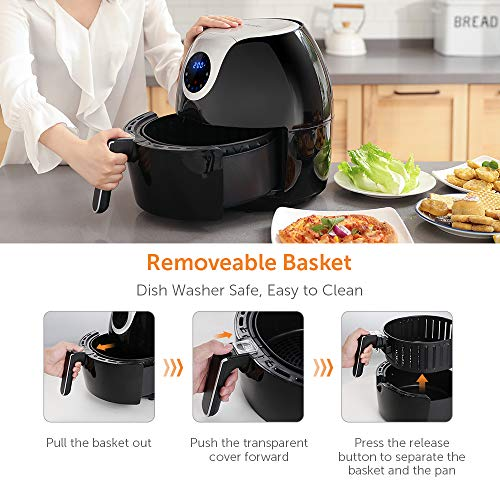 Innsky 6.3 Qt Air Fryer( 32 Main Recipes &Grilling Rack Included), 1700W Electric Hot Air Fryers XL Oven Oilless Cooker, LED Digital Touchscreen, Auto Shut Off, 7 Cooking Presets, Preheat & Nonstick Basket 2 Years Warranty