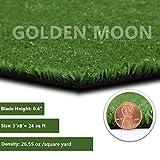 GOLDEN MOON All Green Artificial Grass Rug Rubber Back...
